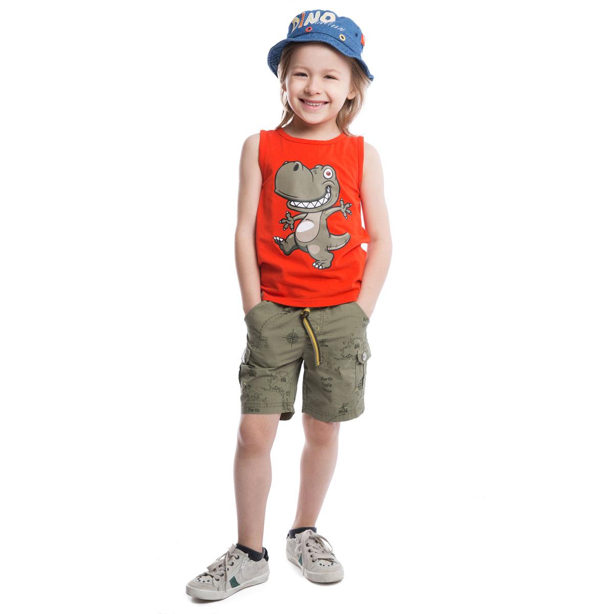 Шорты для мальчиков. 261006261006Легкие хлопковые шорты цвета хаки. Украшены принтом с морской картой