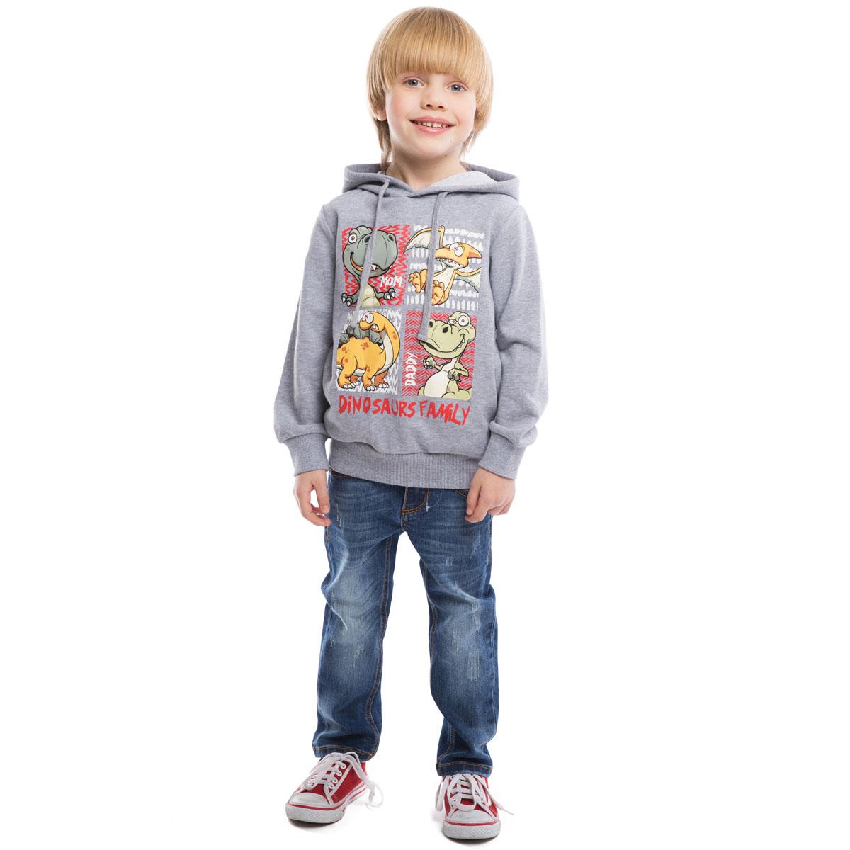 Толстовка для мальчика. 261001261001Стильная толстовка для мальчика PlayToday идеально подойдет вашему маленькому моднику в прохладные дни. Изготовленная из хлопка с добавлением полиэстера, она необычайно мягкая и приятная на ощупь, не сковывает движения и позволяет коже дышать, не раздражает даже самую нежную и чувствительную кожу ребенка, обеспечивая ему наибольший комфорт. Толстовка с длинными рукавами и несъемным капюшоном на кулиске оформлена резиновым принтом в виде забавных динозавриков и надписями на английском языке. Рукава и низ изделия дополнены широкими трикотажными резинками. По бокам имеются два прорезных кармана. Оригинальный современный дизайн и расцветка делают эту толстовку модным и стильным предметом детского гардероба. В ней ваш ребенок будет чувствовать себя уютно и комфортно и всегда будет в центре внимания!
