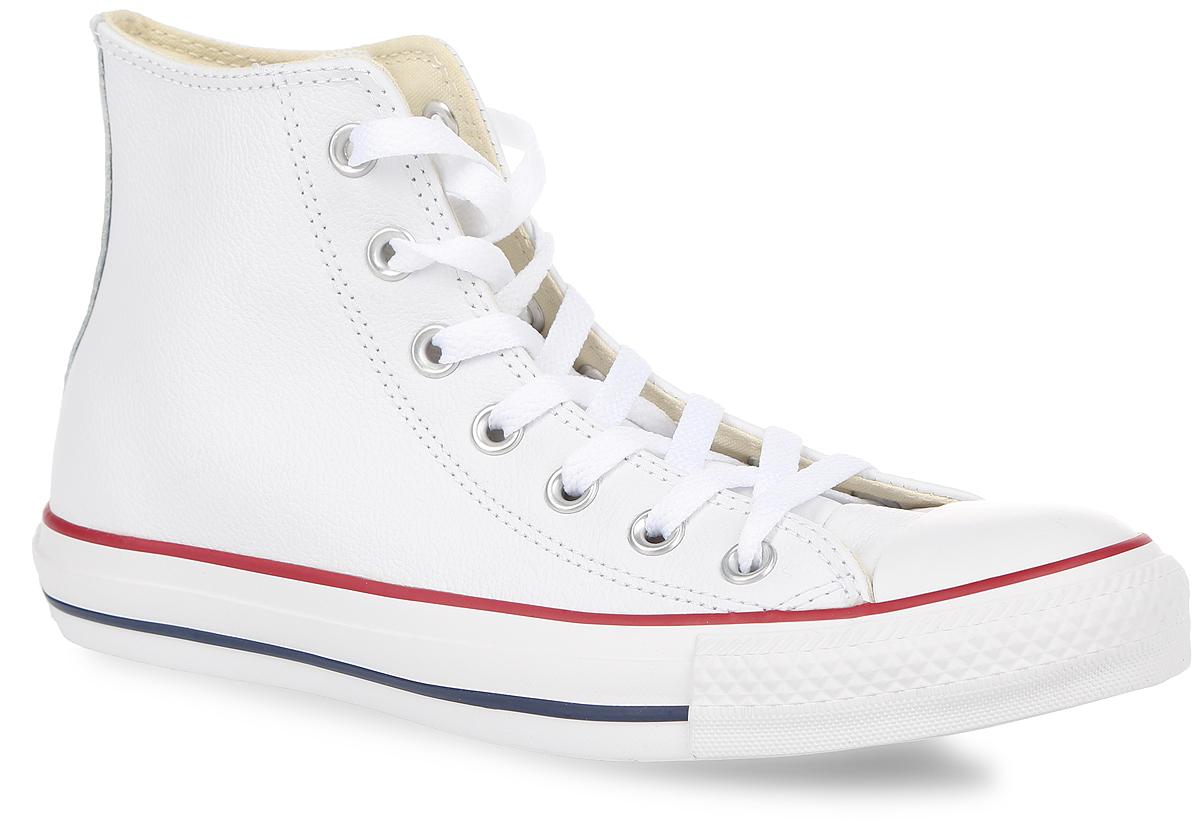 Кеды Chuck Taylor All Star Hi. 1321132170FW15Трендовые кеды Chuck Taylor All Star Hi от Converse займут достойное место среди вашей обуви. Модель выполнена из натуральной высококачественной кожи и оформлена задним наружным ремнем, на одной из боковых сторон - фирменной кожаной нашивкой и металлическими люверсами, на подошве - прорезиненной накладкой и контрастными полосками. Мыс изделия дополнен классической для кед прорезиненной вставкой. Классическая шнуровка обеспечивает надежную фиксацию обуви на ноге. Стелька из материала EVA с текстильной поверхностью комфортна при движении. Гибкая резиновая подошва с рифлением гарантирует идеальное сцепление с любыми поверхностями. В таких кедах вашим ногам будет комфортно и уютно.