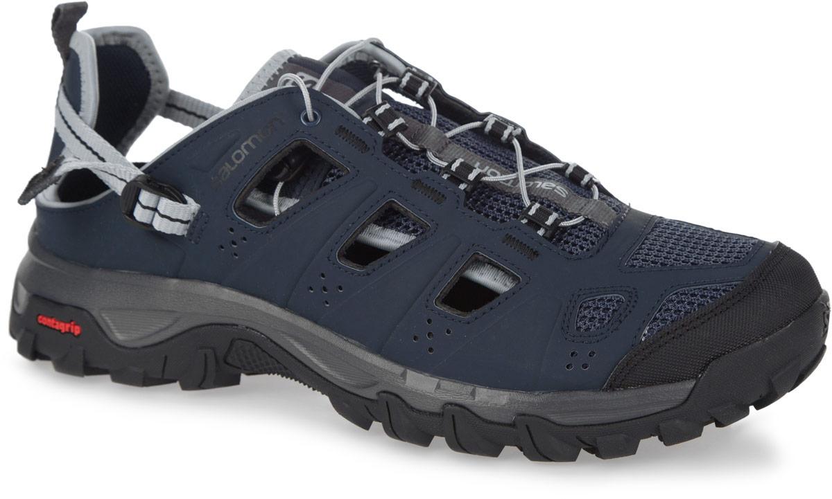 Кроссовки379554Комфортные и износостойкие кроссовки от Salomon Evasion Cabrio отлично подходят для активного отдыха в сырую или сухую погоду жарким летом. Верх изделия выполнен из синтетики, которая выглядит, как кожа, но быстро сохнет, и дополнен вставками из сетчатого текстиля. По бокам модель оформлена перфорацией для лучшей воздухопроницаемости. Система быстрой шнуровки Quicklace с фиксатором и регулируемый ремешок с пластиковой пряжкой в области пятки гарантируют надежную фиксацию обуви на ноге. Накладка на мыске обеспечит лучшую защиту пальцев. Текстильная подкладка и стелька из ЭВА материала с текстильным верхним покрытием подарят дополнительный комфорт и предотвратят натирание. Язычок дополнен фирменной текстильной нашивкой, одна из боковых сторон - принтом в виде названия бренда. Ярлычок, оформленный символикой бренда, предназначен для более удобного надевания обуви. Задник складной. Технология Contagrip обеспечивает надежность сцепления и высокую износостойкость...