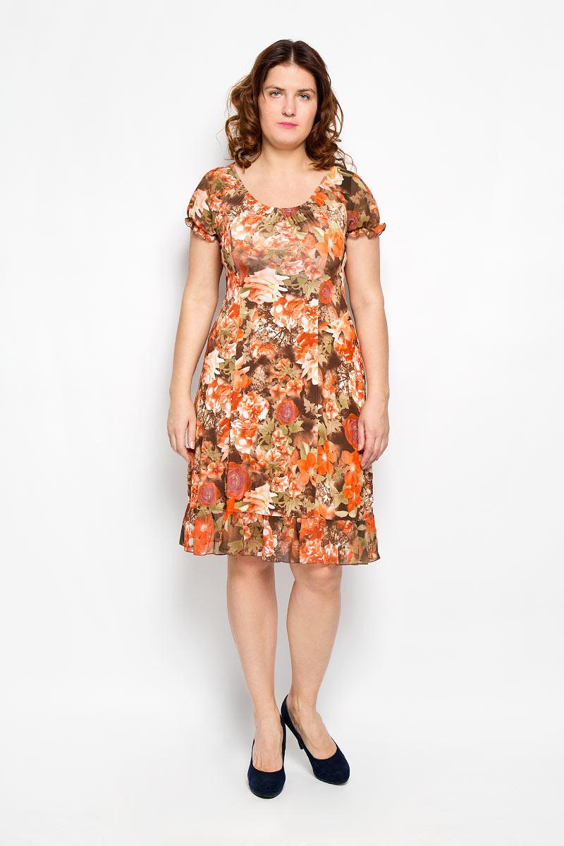 Платье. 535м535мПлатье Milana Style поможет создать оригинальный женственный образ. Благодаря составу, в который входит полиэстер и мягкая эластичная вискоза, платье очень приятное на ощупь, не сковывает движений, хорошо вентилируется, обеспечивая комфорт. Модель с круглым вырезом горловины и короткими рукавами-реглан оформлена цветочным принтом. Спереди вырез горловины присборен на тонкие эластичные резинки, образующие мелкие складки. Рукава по краям также присборены на резинки. Низ изделия дополнен воздушной оборкой. Рукава и оборка выполнены из тонкой полупрозрачной ткани. Такое платье станет ярким и модным дополнением к вашему гардеробу!