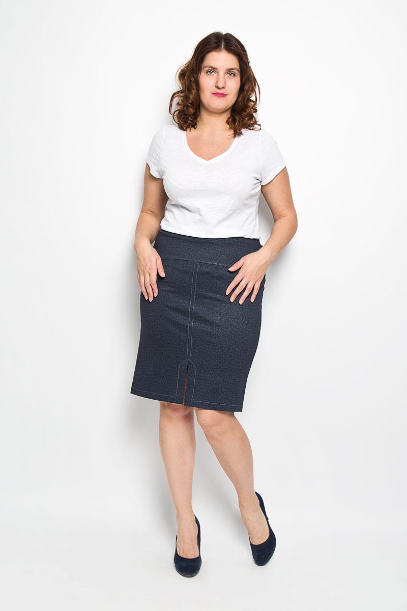 Юбка. 811м811мСтильная юбка Milana Style, выполненная из высококачественного материала, подчеркнет ваш уникальный стиль и поможет создать оригинальный женственный образ. Юбка-миди с подкладкой оформлена под джинс, декорирована контрастной прострочкой и разрезом спереди. Пояс юбки дополнен эластичной резинкой. Модная юбка-миди выгодно освежит и разнообразит ваш гардероб. Классический фасон и оригинальное оформление этой юбки сделают ваш образ непревзойденным.
