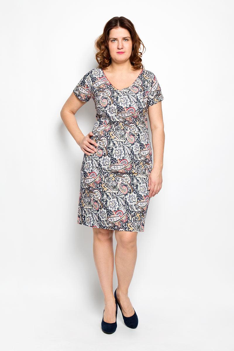 Платье. 1640-642м_узоры1640-642м_узорыПлатье Milana Style поможет создать яркий и красивый образ. Платье выполнено из мягкой эластичной вискозы, приятное к телу, не сковывает движений, хорошо пропускает воздух, обеспечивая комфорт. Модель с V-образным вырезом горловины и короткими рукавами застегивается по спинке на скрытую молнию. Сзади предусмотрен небольшой разрез. Оформлено изделие принтом с узорами. Такое платье станет ярким и модным дополнением к вашему гардеробу!