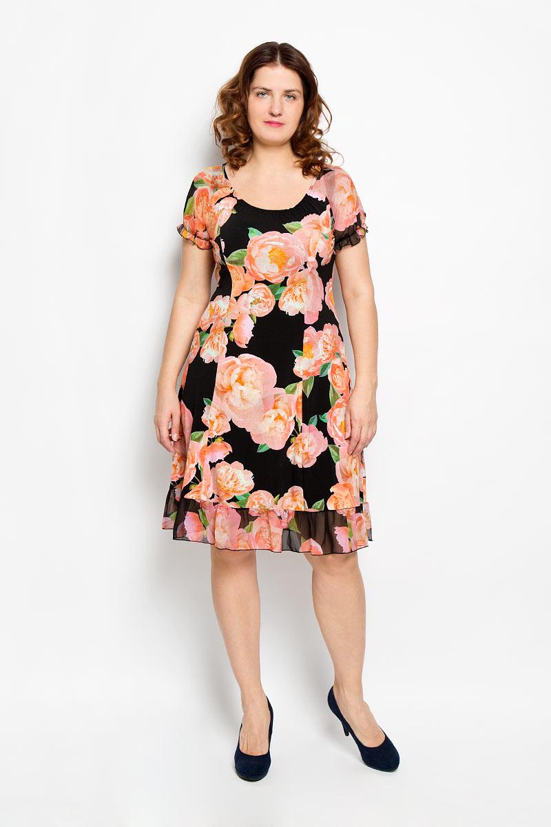 Платье. 541м541мПлатье Milana Style идеально подойдет для вас и станет стильным дополнением к вашему гардеробу. Выполненное из мягкой эластичной ткани, оно очень приятное на ощупь, не сковывает движений и хорошо вентилируется. Модель с круглым вырезом горловины и короткими рукавами, поможет создать яркий и привлекательный образ, в нем вам будет удобно и комфортно.