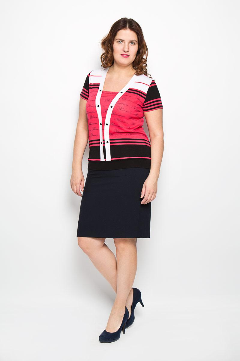 Блузка женская. 885-612м885-612мЯркая женская блузка Milana Style, выполненная из вискозы с добавлением эластана, подчеркнет ваш уникальный стиль и поможет создать оригинальный женственный образ. Материал очень легкий, мягкий и приятный на ощупь, не сковывает движения и хорошо вентилируется. Блузка с короткими рукавами и трапециевидным вырезом горловины оформлена полосками, надписями и декоративными планками с пуговицами. Такая блузка будет дарить вам комфорт в течение всего дня и послужит замечательным дополнением к вашему гардеробу.