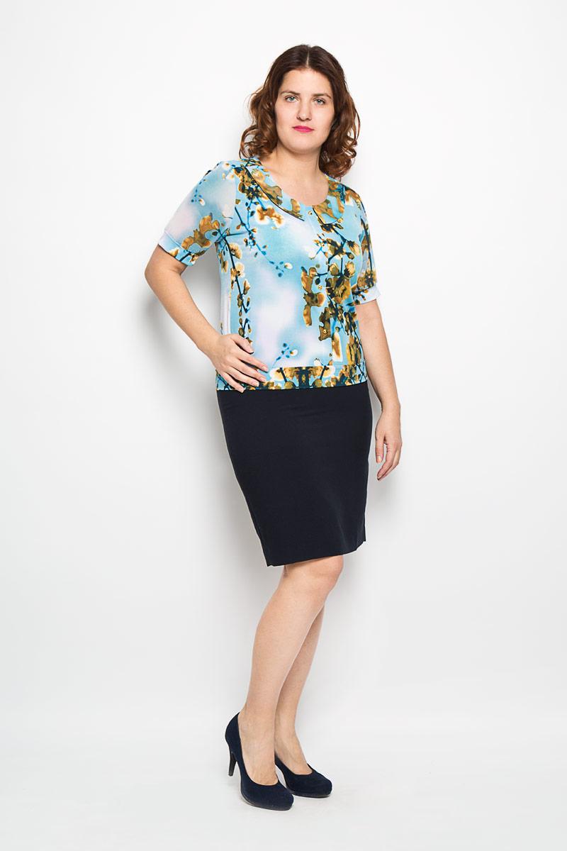 1368-625мОчаровательная женская блузка Milana Style, выполненная из высококачественного материала, подчеркнет ваш уникальный стиль и поможет создать оригинальный женственный образ. Материал очень легкий, мягкий и приятный на ощупь, не сковывает движения и хорошо вентилируется. Блузка с рукавами до локтя и круглым вырезом горловины оформлена оригинальным принтом. Вырез горловины дополнен имитацией отложного воротника. Лицевая сторона блузки декорирована планкой с эффектом застежки на пуговицы. Рукава из полупрозрачного материала фиксируются эластичными манжетами. Красочный принт придаст яркости и романтичности вашему образу. Такая блузка будет дарить вам комфорт в течение всего дня и послужит замечательным дополнением к вашему гардеробу.