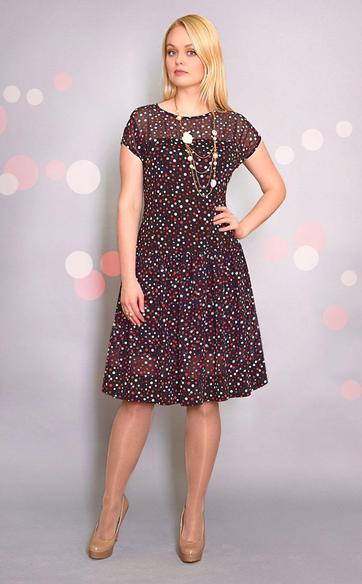 Платье. 876м876мПлатье Milana Style - находка для современной женщины, желающей выглядеть стильно и модно. Модель с круглой горловиной и короткими рукавами оформлена принтом в горох. На груди - полупрозрачная вставка. Изделие имеет двойную юбку: нижняя - прямая, а верхняя - в сборку, выполненная из полупрозрачного материала. Такое платье послужит отличным дополнением к вашему гардеробу.