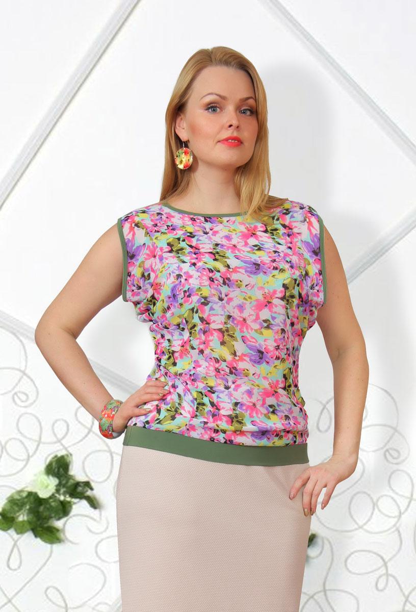 Блузка женская. 725м725мСтильная женская блузка Milana Style, выполненная из качественного материала, подчеркнет ваш уникальный стиль и поможет создать женственный образ. Модель с короткими рукавами оригинального кроя и круглым вырезом горловины оформлена ярким цветочным принтом. Такая блузка будет дарить вам комфорт в течение всего дня и послужит замечательным дополнением к вашему гардеробу.