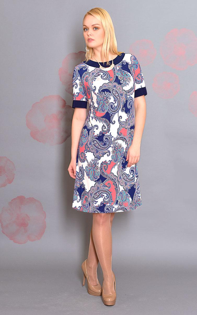 Платье. 878м878мПлатье Milana Style позволит создать модный и женственный образ. Модель прямого кроя с круглой горловиной и короткими рукавами выполнена из высококачественного материала и оформлена оригинальным принтом. Вырез горловины и края рукавов дополнены однотонной вставкой. Такое платье послужит отличным дополнением к вашему гардеробу.