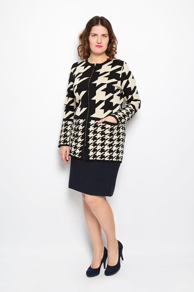 Кардиган женский. 894894Стильный вязаный женский кардиган Milana Style - отличный вариант для прохладной погоды. Модель универсальна, прекрасно подходит для повседневного ношения и хорошо смотрится как с брюками, так и с юбками. Благодаря составу, в который входит акрил и шерсть, изделие теплое и приятное на ощупь, не сковывает движения, обеспечивая комфорт. Кардиган с круглым вырезом горловины и длинными рукавами оформлен оригинальным принтом и застегивается на застежку-молнию по всей длине изделия. Модель спереди дополнена накладными карманами. Этот эффектный кардиган подарит вам комфорт и послужит замечательным дополнением к вашему гардеробу.