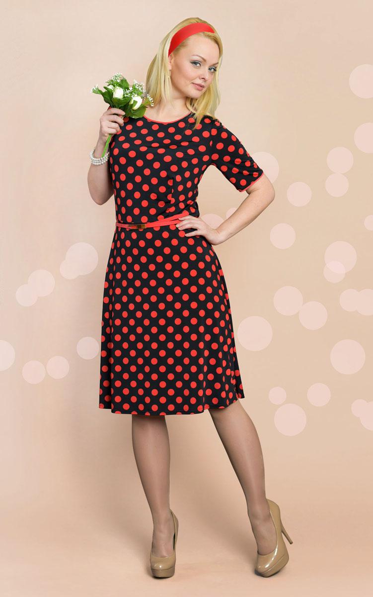 Платье. 893м893мПлатье Milana Style позволит создать модный и женственный образ. Модель с круглой горловиной и короткими рукавами оформлена принтом в горох. Отрезная юбка немного расклешенная. Края рукавов и вырез горловины дополнены контрастным кантом. В комплекте предусмотрен тонкий ремешок из искусственной кожи с металлической пряжкой. Такое платье послужит отличным дополнением к вашему гардеробу.
