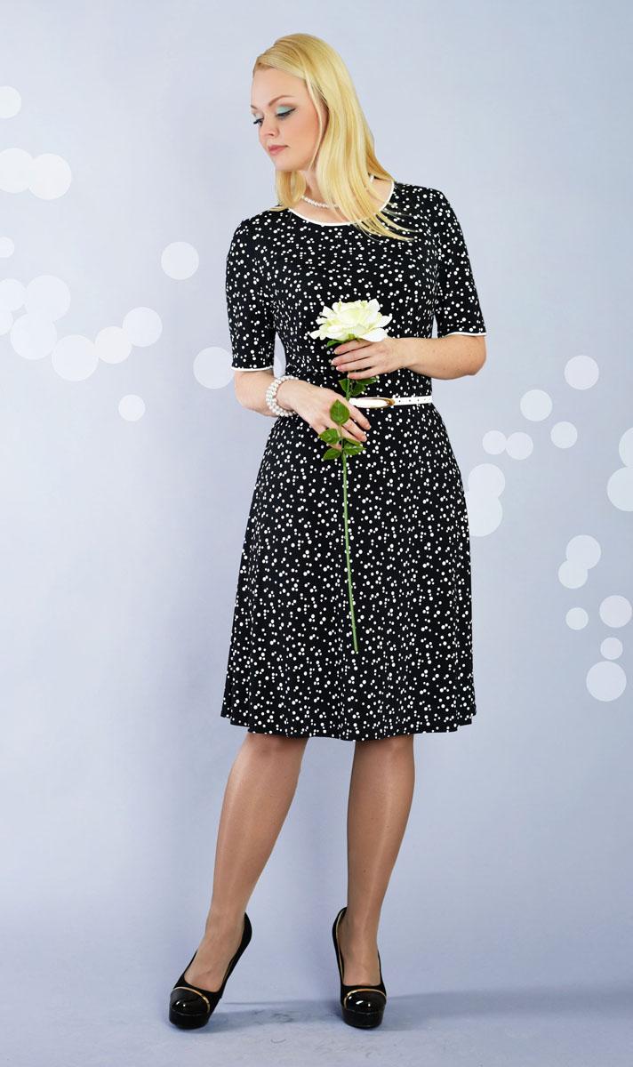 Платье893мПлатье Milana Style позволит создать модный и женственный образ. Модель с круглой горловиной и короткими рукавами оформлена принтом в горох. Отрезная юбка немного расклешенная. Края рукавов и вырез горловины дополнены контрастным кантом. В комплекте предусмотрен тонкий ремешок из искусственной кожи с металлической пряжкой. Такое платье послужит отличным дополнением к вашему гардеробу.