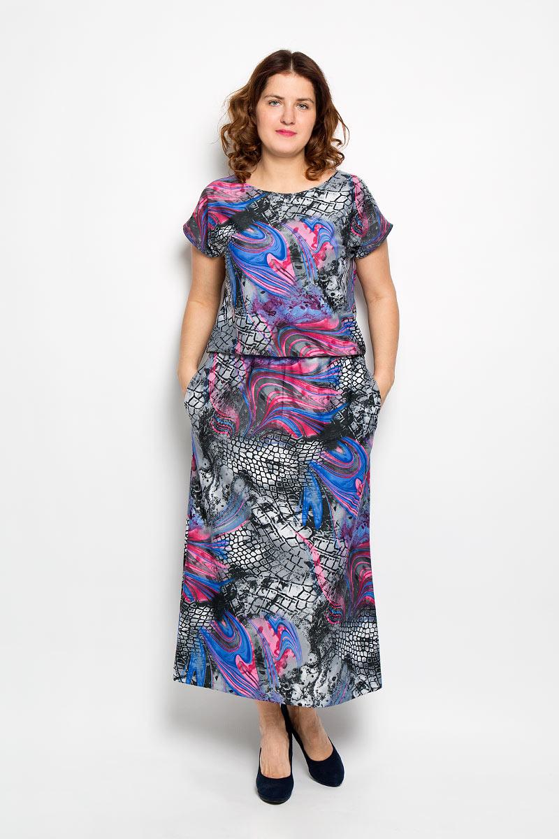Платье. 1671-691м_с карманами1671-691м_с карманамиПлатье Milana Style идеально подойдет для современной женщины, желающей выглядеть стильно и модно. Платье выполнено из мягкой эластичной ткани, тактильно приятное, не сковывает движений, обеспечивая комфорт. Модель с круглым вырезом горловины и короткими рукавами оформлена эффектным принтом. По бокам расположены два прорезных кармана. Линию талии подчеркивает эластичная резинка. Дизайн и расцветка делают это платье ярким и стильным предметом женской одежды. Обладательница такой модели всегда будет в центре внимания!