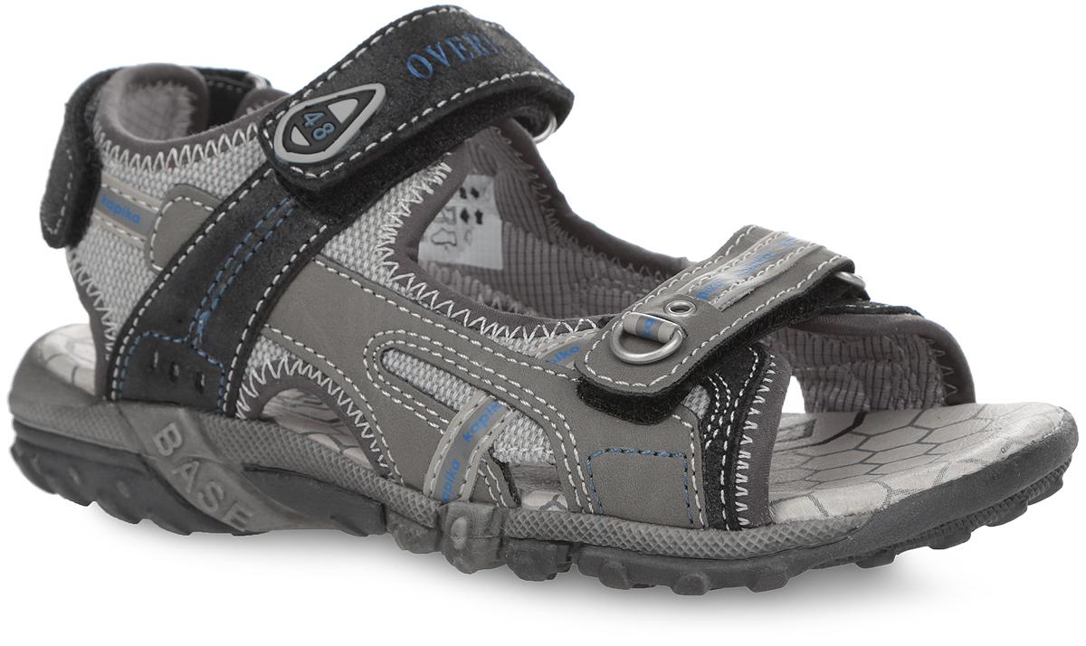 Сандалии для мальчика. 3403634036Модные сандалии от Kapika приведут в восторг вашего мальчика! Модель выполнена из натуральной и искусственной кожи со вставками из текстиля. Ремешки с застежками-липучками надежно зафиксируют ногу ребенка и отрегулируют нужный объем. Стелька дополнена супинатором, который отвечает за правильное формирование стопы. Подошва Flexible оснащена рифлением, которое гарантирует отличное сцепление с любой поверхностью. Стильные сандалии займут достойное место в гардеробе вашего ребенка.