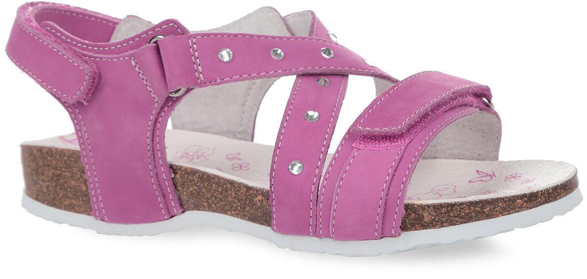 Босоножки33150-2Прелестные босоножки от Kapika очаруют вашу девочку с первого взгляда! Модель выполнена из натуральной кожи и оформлена на перекрещивающихся ремешках стразами, на подошве - вставкой контрастного цвета. Ремешки на застежках-липучках обеспечивают оптимальную посадку обуви на ноге, не давая ей смещаться из стороны в сторону и назад. Подкладка и стелька из натуральной кожи позволяют ногам дышать. Подошва с рифлением в виде оригинального рисунка гарантирует идеальное сцепление с любой поверхностью. Стильные босоножки поднимут настроение вам и вашей дочурке!