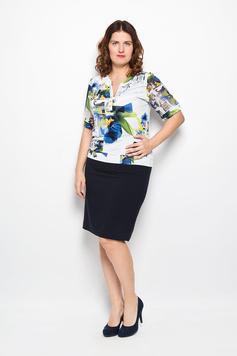 Блузка женская. 1311-622м1311-622мОригинальная женская блузка Milana Style, выполненная из высококачественного материала, подчеркнет ваш уникальный стиль и поможет создать оригинальный женственный образ. Материал очень легкий, мягкий и приятный на ощупь, не сковывает движения и хорошо вентилируется. Блузка с короткими рукавами и круглым вырезом горловины оформлена оригинальным принтом. Вырез горловины дополнен разрезом и имитацией застежки на пуговицы. Рукава из полупрозрачного материала фиксируются на эластичные манжеты с пуговицами. Такая блузка будет дарить вам комфорт в течение всего дня и послужит замечательным дополнением к вашему гардеробу.