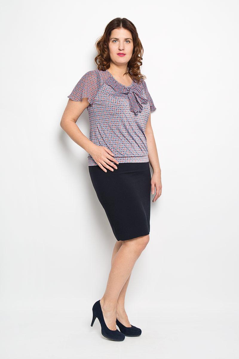 708мОчаровательная женская блузка Milana Style, выполненная из высококачественного материала, подчеркнет ваш уникальный стиль и поможет создать оригинальный женственный образ. Материал очень легкий, мягкий и приятный на ощупь, не сковывает движения и хорошо вентилируется. Блузка с короткими рукавами-реглан и круглым вырезом горловины оформлена оригинальным принтом. Вырез горловины дополнен оборкой, которая переходит в длинные ленты, с помощью них можно завязать красивый бант. Рукава из полупрозрачного материала клиновидного кроя. Такая блузка будет дарить вам комфорт в течение всего дня и послужит замечательным дополнением к вашему гардеробу.