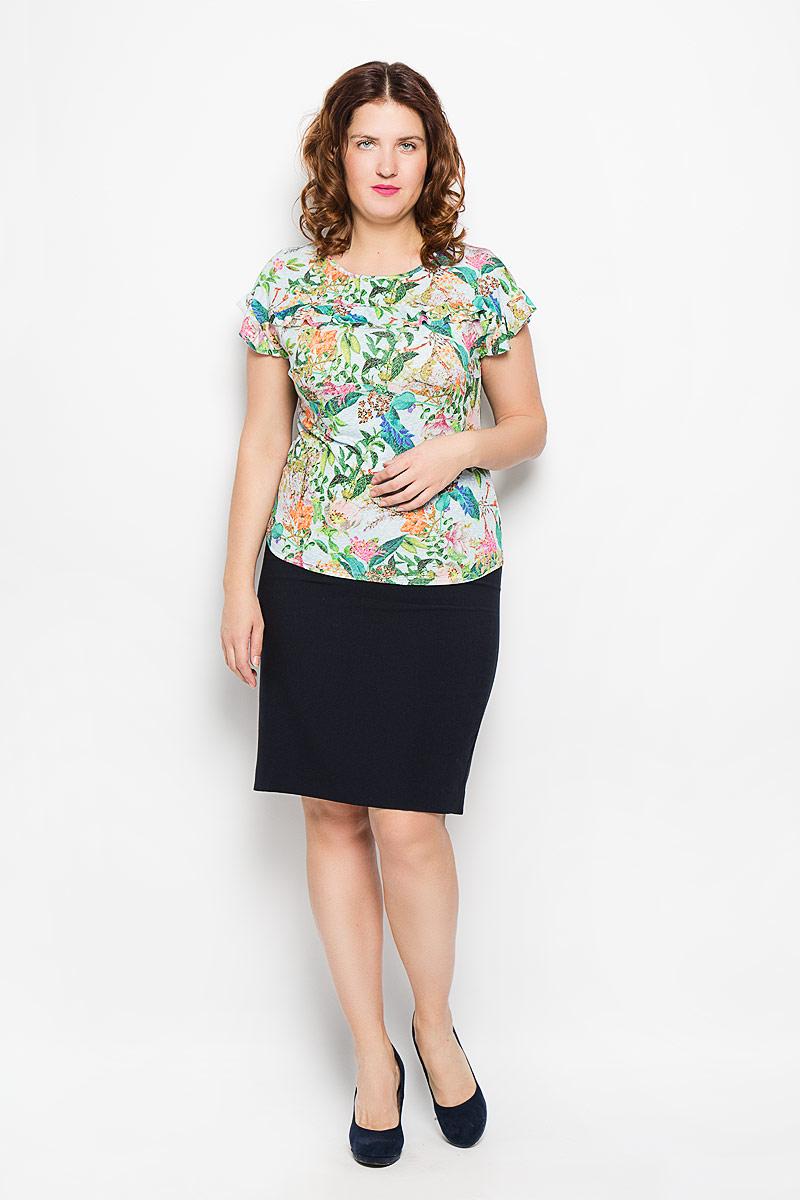 Блузка751мСтильная женская блуза Milana Style, выполненная из полиэстера и вискозы с добавлением лайкры, подчеркнет ваш уникальный стиль и поможет создать оригинальный женственный образ. Модель с рукавами крылышками и круглым вырезом горловины оформлена двойной оборкой. Такая блуза займет достойное место в вашем гардеробе.