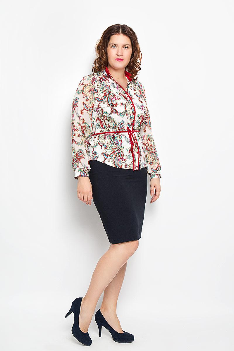 1494-624мСтильная блуза Milana Style, выполненная из синтетического материала ПАН с добавлением эластана, подчеркнет ваш уникальный стиль и поможет создать оригинальный женственный образ. Материал очень легкий, мягкий и приятный на ощупь, не сковывает движения и хорошо вентилируется. Блуза с длинными рукавами и V-образным вырезом горловины оформлена декоративной планкой с пуговицами по всей длине. Рукава выполнены из полупрозрачной легкой ткани. Блуза, дополненная текстильным поясом, будет дарить вам комфорт в течение всего дня и послужит замечательным дополнением к вашему гардеробу.