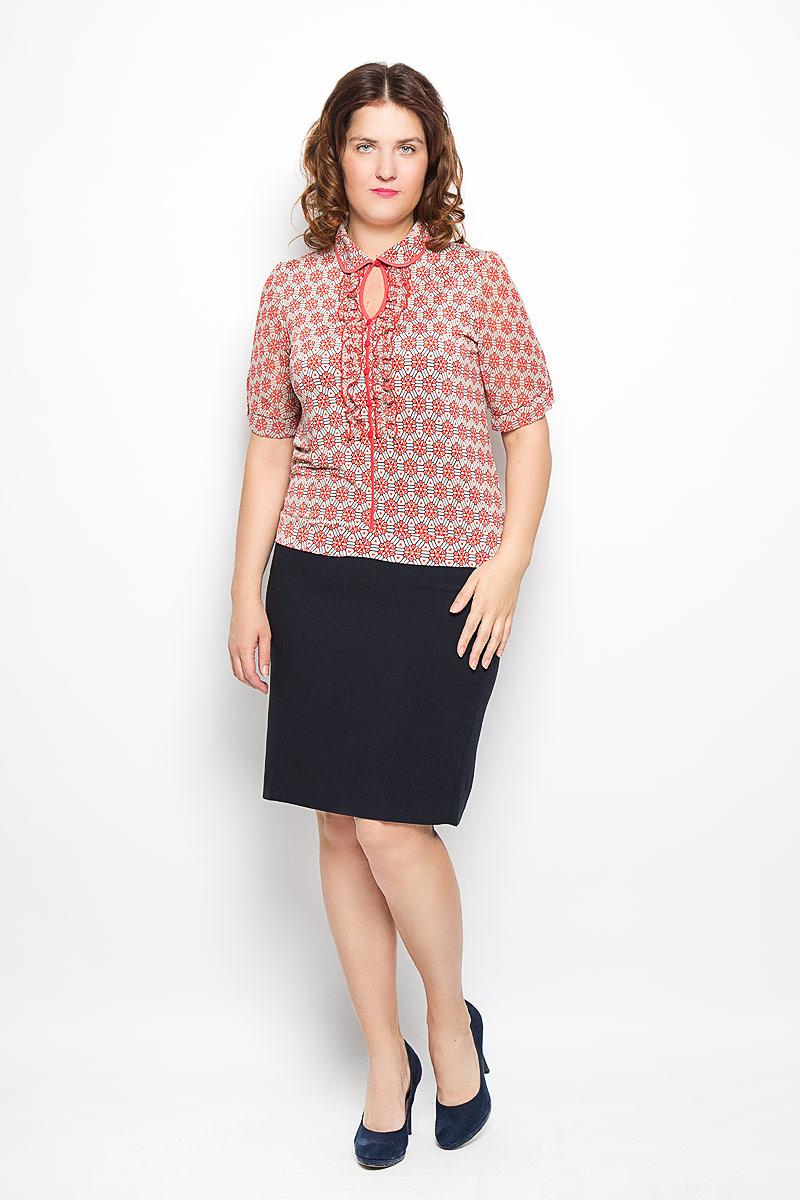 1508-622мСтильная женская блуза Milana Style, выполненная из синтетического материала ПАН с добавлением эластана, подчеркнет ваш уникальный стиль и поможет создать оригинальный женственный образ. Модель с короткими рукавами и отложным воротником сверху застегивается на пуговицу. Рукава выполнены из легкого, слегка прозрачного материала. Такая блуза займет достойное место в вашем гардеробе.