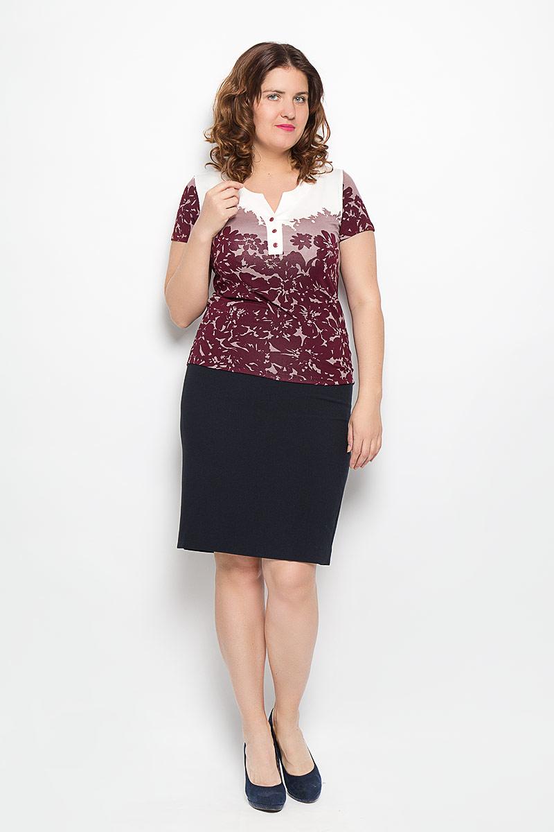 Блузка1544-612мСтильная блуза Milana Style, выполненная из вискозы с добавлением эластана, подчеркнет ваш уникальный стиль и поможет создать оригинальный женственный образ. Материал очень легкий, мягкий и приятный на ощупь, не сковывает движения и хорошо вентилируется. Блуза с короткими рукавами и круглым воротником оформлена декоративной планкой с тремя пуговицами. Такая блуза будет дарить вам комфорт в течение всего дня и послужит замечательным дополнением к вашему гардеробу.