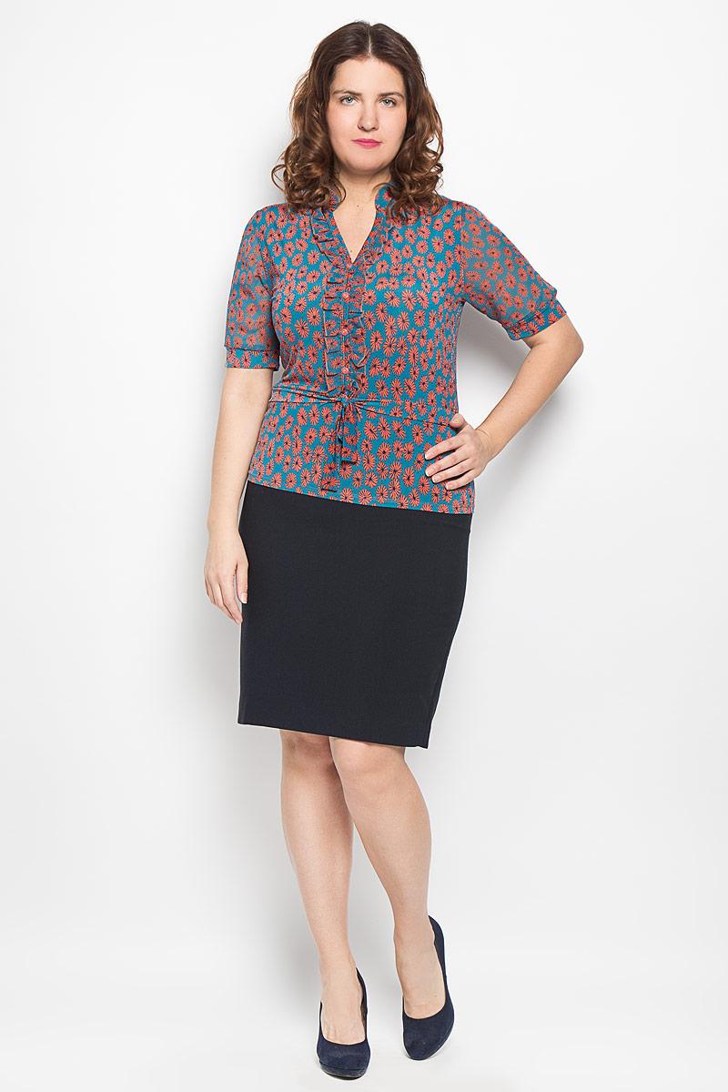 Блузка156-625мСтильная блузка Milana Style, изготовленная из синтетического материала ПАН с добавлением эластана, подчеркнет ваш уникальный стиль. Материал легкий, мягкий и приятный на ощупь, не сковывает движения и хорошо вентилируется. Блузка с воротником-стойкой и короткими рукавами оформлена декоративной планкой с пуговицами по всей длине и небольшой оборкой. По талии модель дополнена завязками. Рукава выполнены из полупрозрачной легкой ткани и собраны в эластичные манжеты. Спереди модель По всей поверхности изделие оформлено цветочным принтом. Такая блузка будет дарить вам комфорт в течение всего дня и послужит замечательным дополнением к гардеробу.