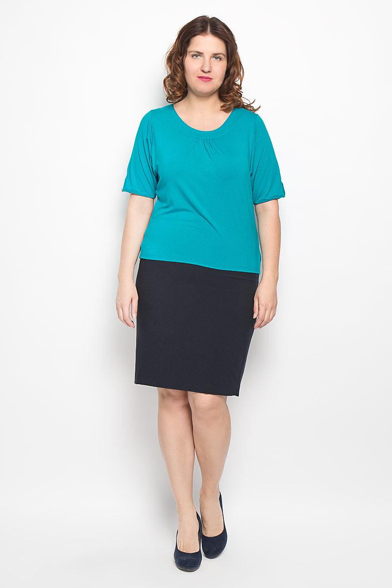 Блузка женская. 1459-619м1459-619мСтильная блузка Milana Style, изготовленная из вискозы с добавлением эластана, подчеркнет ваш уникальный стиль. Материал легкий, мягкий и приятный на ощупь, не сковывает движения и хорошо вентилируется. Блузка с круглым вырезом горловины и короткими рукавами-летучая мышь. Рукава внизу обработаны тонким кантом и небольшими разрезами. Спереди модель оформлена небольшими складками. Такая блузка будет дарить вам комфорт в течение всего дня и послужит замечательным дополнением к гардеробу.