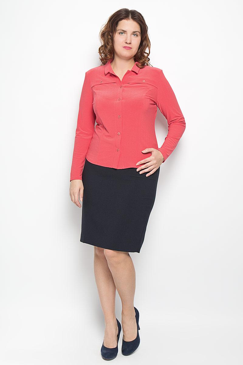 Блузка882мСтильная женская блуза Milana Style, выполненная из высококачественного материала, подчеркнет ваш уникальный стиль и поможет создать оригинальный женственный образ. Блузка с отложным воротником и длинными рукавами застегивается спереди на пуговицы. На груди расположены горизонтальные декоративные планки с пуговицами. Изделие дополнено подплечниками. Такая блузка будет дарить вам комфорт в течение всего дня и послужит замечательным дополнением к вашему гардеробу.
