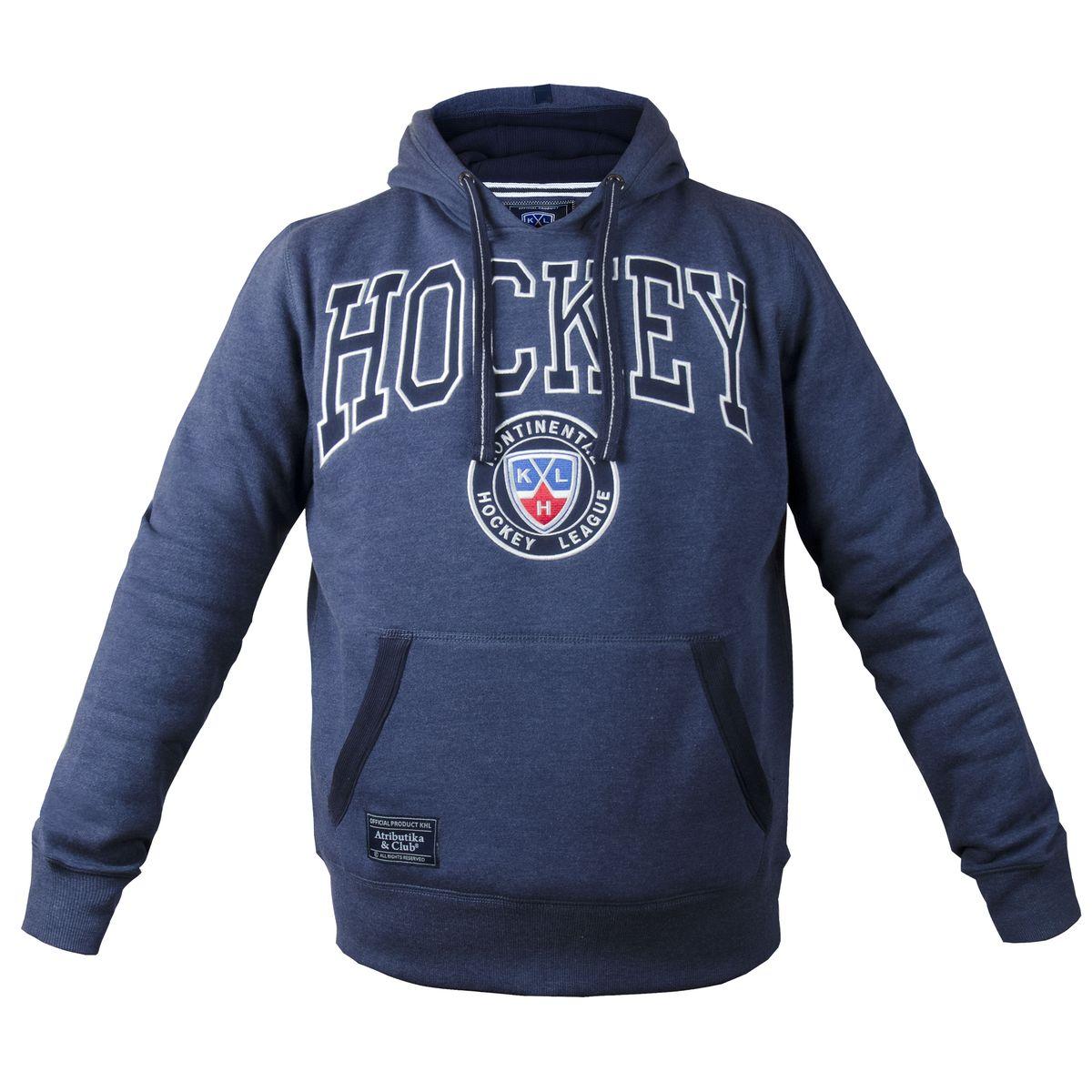 Толстовка с логотипом ХК321020Мужская толстовка КХЛ с капюшоном и карманом-кенгуру выполнена из высококачественного материала. Модель оформлена вышивкой.