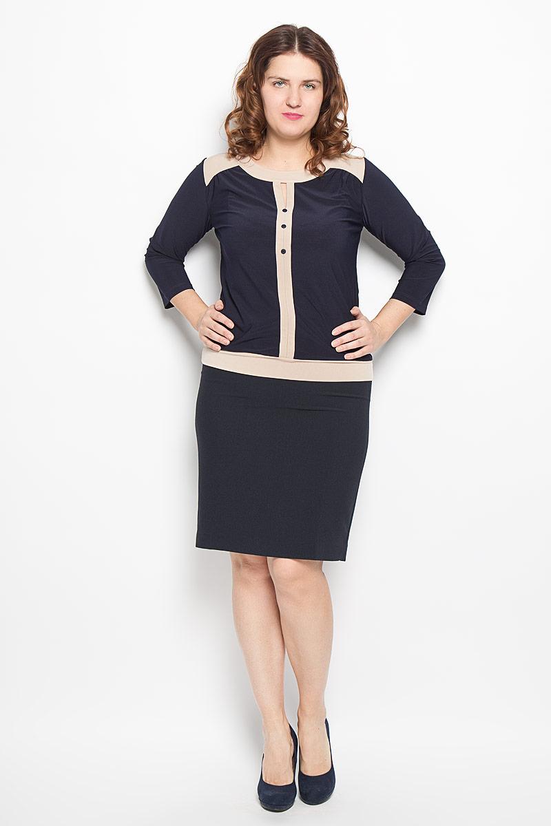 Блузка1541-693мСтильная блузка Milana Style, изготовленная из синтетического материала ПАН с добавлением эластана, подчеркнет ваш уникальный стиль. Материал легкий, мягкий и приятный на ощупь, не сковывает движения и хорошо вентилируется. Блузка с круглым вырезом горловины и рукавами 3/4 оформлена декоративной планкой с пуговицами по всей длине. Низ изделия обработан широкой трикотажной манжетой. Модель дополнена вставками контрастного цвета. Такая блузка будет дарить вам комфорт в течение всего дня и послужит замечательным дополнением к гардеробу.