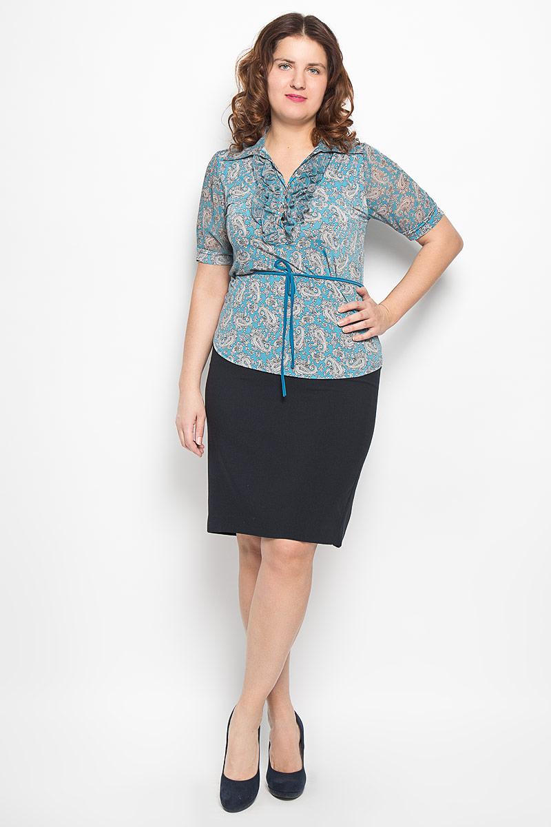 Блузка женская. 1235-625м1235-625мСтильная блузка Milana Style, изготовленная из синтетического материала ПАН с добавлением эластана, подчеркнет ваш уникальный стиль. Материал легкий, мягкий и приятный на ощупь, не сковывает движения и хорошо вентилируется. Блузка с отложным воротником, короткими рукавами и застегивается на пуговицы. Спереди модель дополнена оборкой. Рукава выполнены из полупрозрачного легкого материала и собраны на манжеты. По всей длине модель оформлена орнаментом пейсли. Блуза дополнена небольшим трикотажным поясом. Такая блузка будет дарить вам комфорт в течение всего дня и послужит замечательным дополнением к гардеробу.