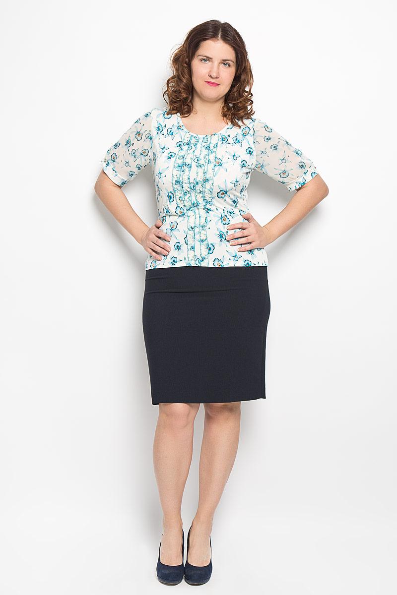 Блузка1574-622мСтильная блузка Milana Style, изготовленная из синтетического материала ПАН с добавлением эластана, подчеркнет ваш уникальный стиль. Материал легкий, мягкий и приятный на ощупь, не сковывает движения и хорошо вентилируется. Блузка с круглым вырезом горловины и короткими рукавами оформлена оборками. Рукава выполнены из полупрозрачного легкого материала, собраны на манжеты и оформлены небольшой складкой. По всей длине модель оформлена цветочным принтом. Такая блузка будет дарить вам комфорт в течение всего дня и послужит замечательным дополнением к гардеробу.