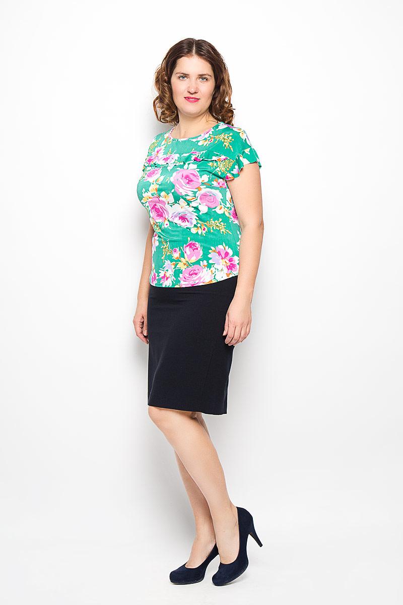 Блуза женская. 751м751мСтильная женская блуза Milana Style, выполненная из полиэстера и вискозы с добавлением лайкры, подчеркнет ваш уникальный стиль и поможет создать оригинальный женственный образ. Модель с рукавами крылышками и круглым вырезом горловины оформлена двойной оборкой. Такая блуза займет достойное место в вашем гардеробе.