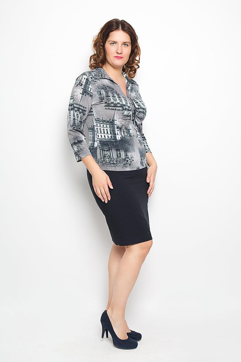 Блузка233-693мСтильная женская блуза Milana Style, выполненная из синтетического материала ПАН с добавлением эластана, подчеркнет ваш уникальный стиль и поможет создать оригинальный женственный образ. Модель с рукавами 3/4 и V- образным вырезом горловины оформлена декоративной планкой с пуговицами. Такая блуза займет достойное место в вашем гардеробе.