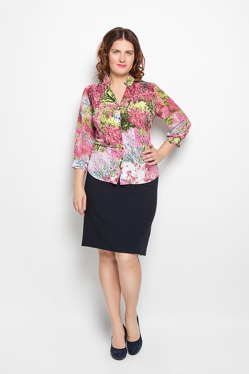 1820-623мСтильная блуза Milana Style, выполненная из полиакрила с добавлением эластана, подчеркнет ваш уникальный стиль и поможет создать оригинальный женственный образ. Материал очень легкий, мягкий и приятный на ощупь, не сковывает движения и хорошо вентилируется. Блуза с рукавами 3/4 и лацканами оформлена декоративной планкой с пуговицами по всей длине. Рукава выполнены из полупрозрачной легкой ткани. Такая блуза будет дарить вам комфорт в течение всего дня и послужит замечательным дополнением к вашему гардеробу.