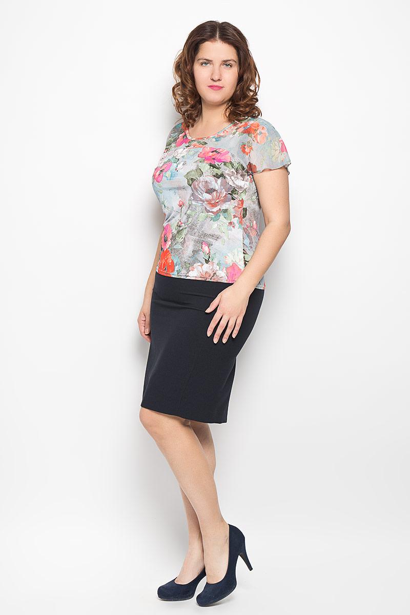 Блузка женская. 722м722мСтильная блузка Milana Style, изготовленная из полиэстера с добавлением вискозы и лайкры, подчеркнет ваш уникальный стиль. Материал легкий, мягкий и приятный на ощупь, не сковывает движения и хорошо вентилируется. Блузка с круглым вырезом горловины и короткими рукавами-кимоно. Верх изделия выполнен из полупрозрачного легкого материала. Рукава дополнены небольшими разрезами. По всей длине модель оформлена цветочным принтом. Такая блузка будет дарить вам комфорт в течение всего дня и послужит замечательным дополнением к гардеробу.
