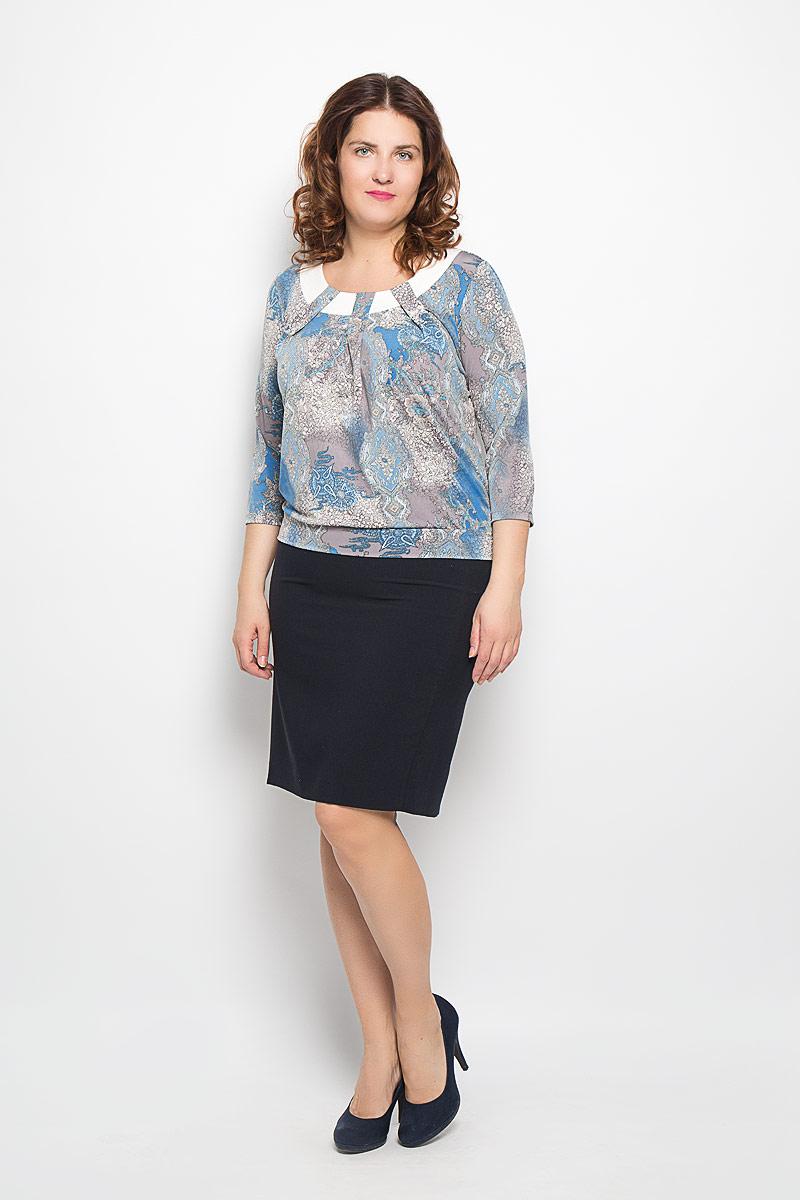 Блузка911-693мЯркая блуза Milana Style, выполненная из синтетического материла ПАН с добавлением эластана, подчеркнет ваш уникальный стиль и поможет создать оригинальный женственный образ. Материал очень легкий, мягкий и приятный на ощупь, не сковывает движения и хорошо вентилируется. Блуза с круглым вырезом горловины и рукавами 3/4, оформлена складками. Такая блуза будет дарить вам комфорт в течение всего дня и послужит замечательным дополнением к гардеробу.