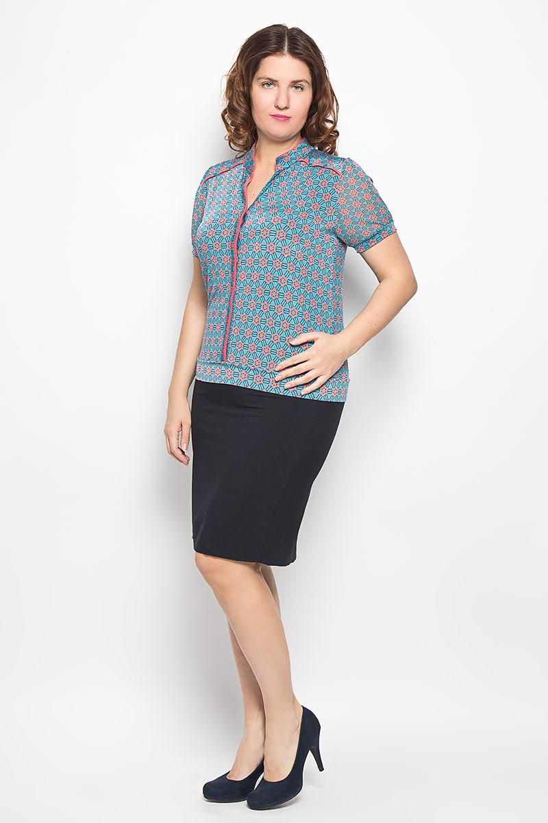 Блузка1514-625мСтильная блузка Milana Style, изготовленная из синтетического материала ПАН с добавлением эластана, подчеркнет ваш уникальный стиль. Материал легкий, мягкий и приятный на ощупь, не сковывает движения и хорошо вентилируется. Блузка с воротником-стойкой и короткими рукавами застегивается спереди на пуговицы. Рукава выполнены из полупрозрачной легкой ткани и собраны на эластичные манжеты. Низ изделия также обработан широкой трикотажной манжетой. По всей поверхности блуза оформлена оригинальным орнаментом. Такая блузка будет дарить вам комфорт в течение всего дня и послужит замечательным дополнением к гардеробу.