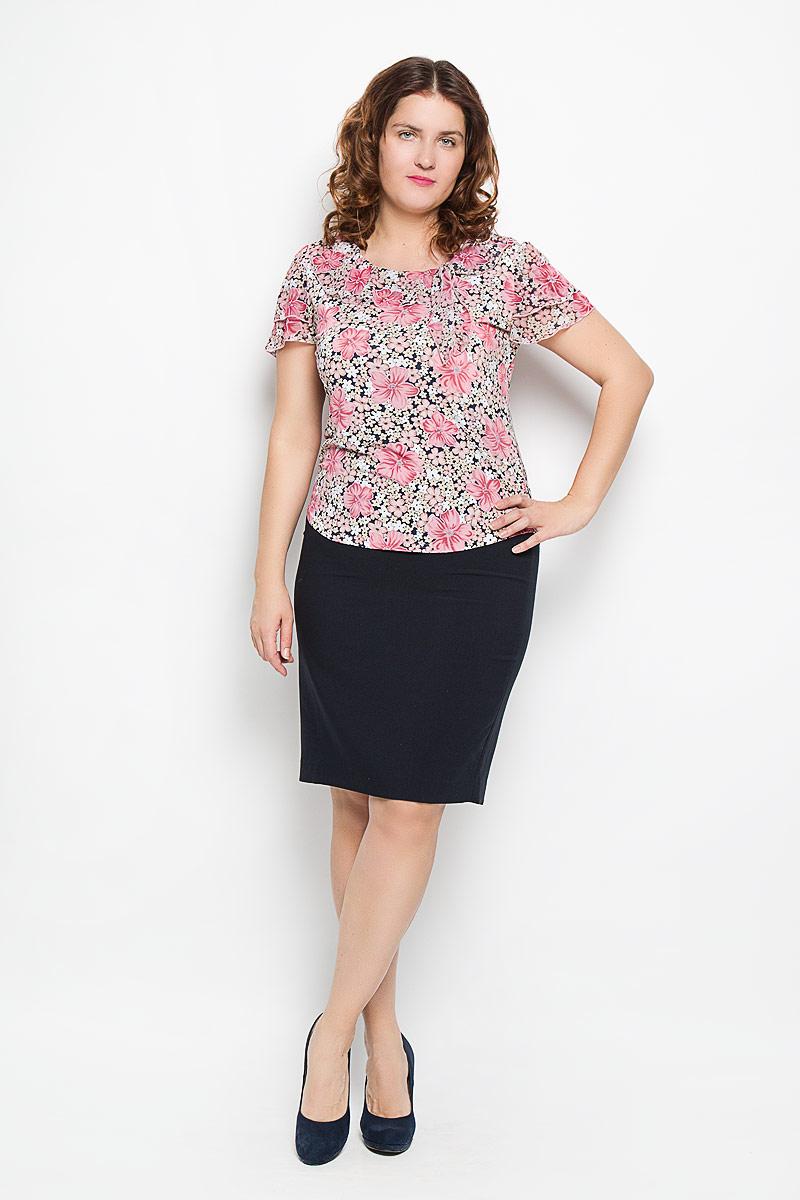Блуза женская. 747м747мЯркая блуза Milana Style, выполненная из полиэстера и вискозы с добавлением лайкры, подчеркнет ваш уникальный стиль и поможет создать оригинальный женственный образ. Материал очень легкий, мягкий и приятный на ощупь, не сковывает движения и хорошо вентилируется. Блуза с круглым вырезом горловины оформлена цветочным принтом и декоративными завязками. Такая блуза будет дарить вам комфорт в течение всего дня и послужит замечательным дополнением к гардеробу.