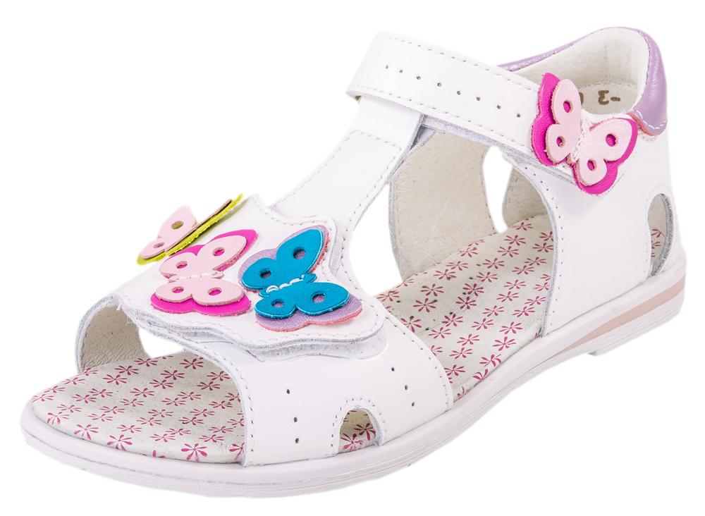 Сандалии для девочек. 322027-21322027-21Босоножки для девочки выполнены из мягкой натуральной кожи, что обеспечивает полный комфорт ножке ребенка. Ремешок на липучке гарантирует полное прилегание обуви к ноге. Нижняя застежка регулирует посадку на ноге. Закрытая пяточная часть помогает правильно фиксировать стопу ребенка и защищает ногу от повреждений. Подошва босоножек из термоэластопласта легкая и устойчивая. Модель украшена симпатичными бабочками.