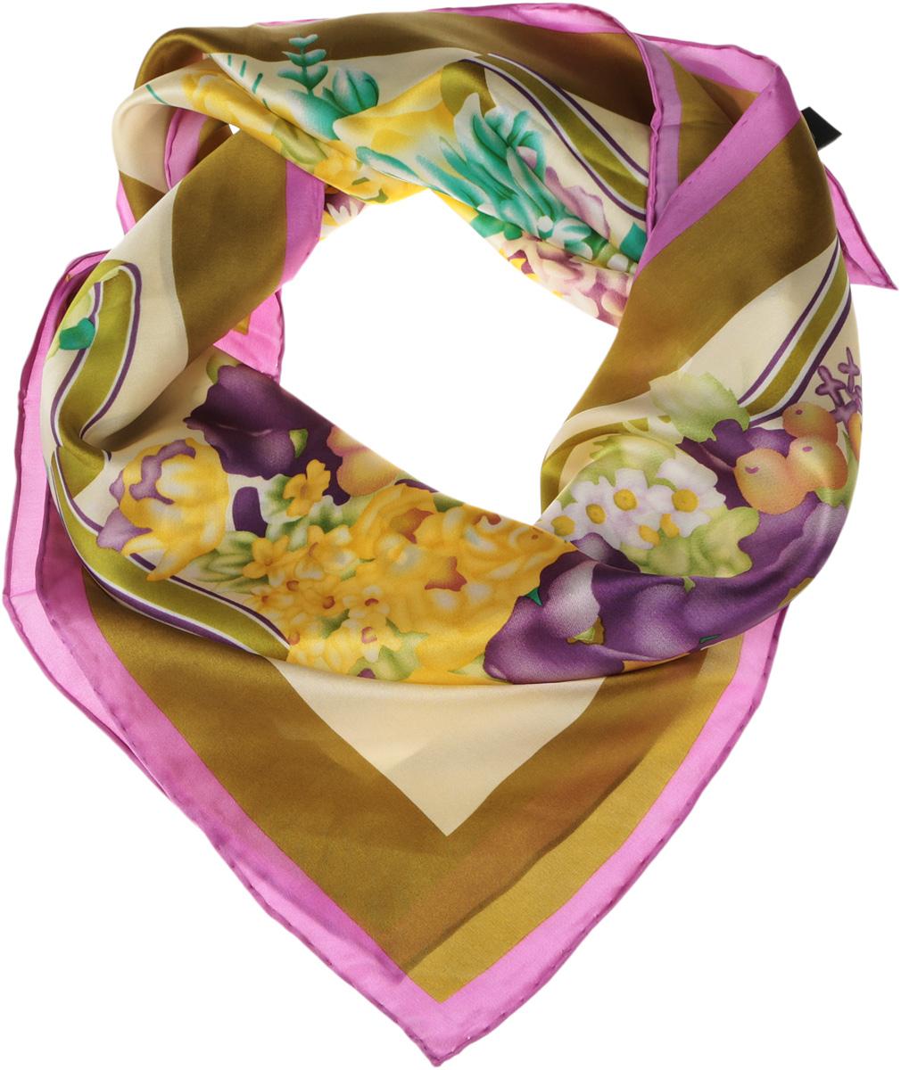 1801129-10Нежный шелковый платок Venera станет нарядным аксессуаром, который призван подчеркнуть индивидуальность и очарование женщины. Оригинальный красочный дизайн полотна добавит изысканности и привлечёт всеобщее внимание. Края платка качественно обработаны вручную. Этот модный аксессуар женского гардероба гармонично дополнит образ современной женщины, следящей за своим имиджем и стремящейся всегда оставаться стильной и элегантной.