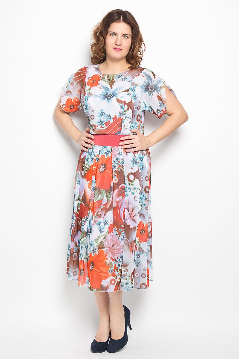 Платье. 719м719мПлатье Milana Style поможет создать яркий и красивый образ. Платье полупрозрачное на легкой подкладке из сетчатого материала. Модель выполнена из полиэстера с добавлением вискозы и лайкры. Платье с круглым вырезом горловины и короткими рукавами-кимоно. Модель дополнена по линии талии широким эластичным поясом, а у горловины небольшим металлическом элементом. Рукава дополнены небольшими разрезами. Оформлено изделие оригинальным цветочным принтом. Такое платье станет ярким и модным дополнением к вашему гардеробу!