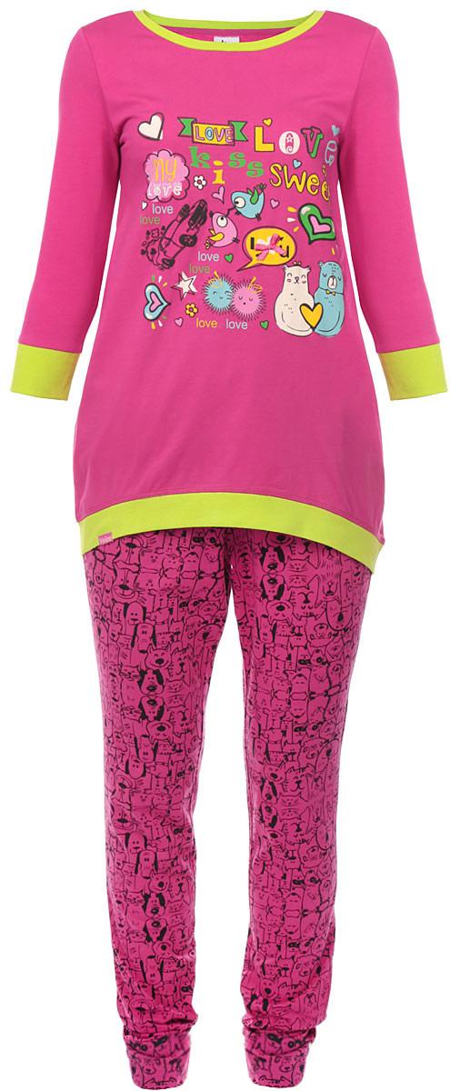 AW15-UAT-LST-463_funnyЖенский комплект одежды Vivien включает в себя футболку и леггинсы. Комплект выполнен из натурального хлопка, мягкий и приятный к телу, не сковывает движения, хорошо пропускает воздух. Футболка с круглым вырезом горловины и рукавами длиной 3/4 имеет свободный крой. Вырез горловины и низ изделия дополнены трикотажными резинками контрастного цвета. На рукавах предусмотрены широкие манжеты. Спинка модели удлинена. Изделие оформлено ярким принтом и надписями, украшено атласным бантиком. Леггинсы на талии дополнены мягкой эластичной резинкой. Украшена модель оригинальным принтом. Модный комплект одежды позволит вам безупречно выглядеть не только в повседневной жизни, но и дома. Яркие цвета и веселые принты будут вас радовать и поднимут настроение в любое время года!