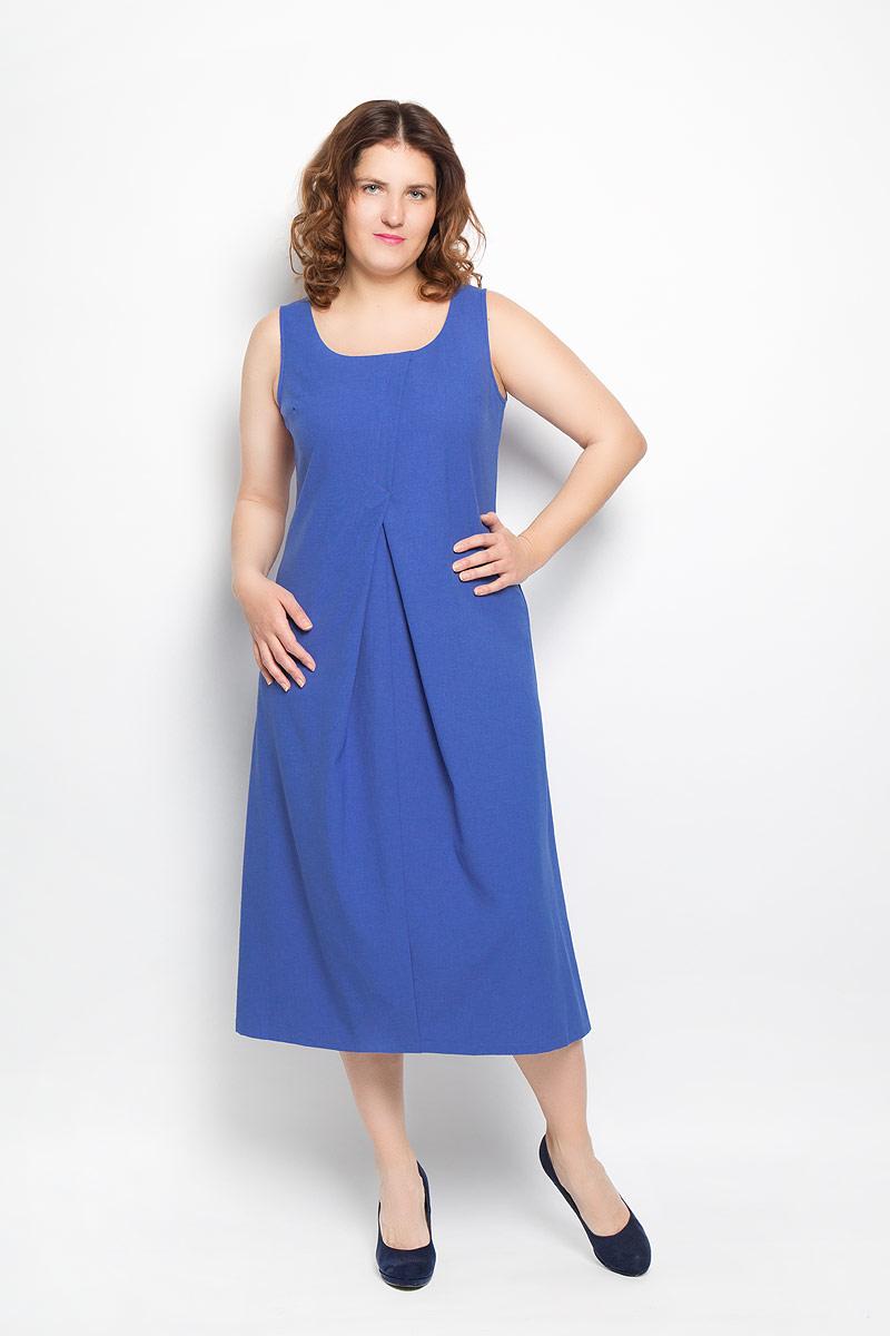 Платье. 090316090316Платье Milana Style поможет создать яркий и красивый образ. Платье выполнено из льна с добавлением полиакрила, оно легкое, приятное к телу, не сковывает движений, позволяет коже дышать, обеспечивая комфорт. Модель с круглым вырезом горловины оформлена спереди встречными складками, придающими изделию оригинальность. Такое платье станет ярким и модным дополнением к вашему гардеробу!