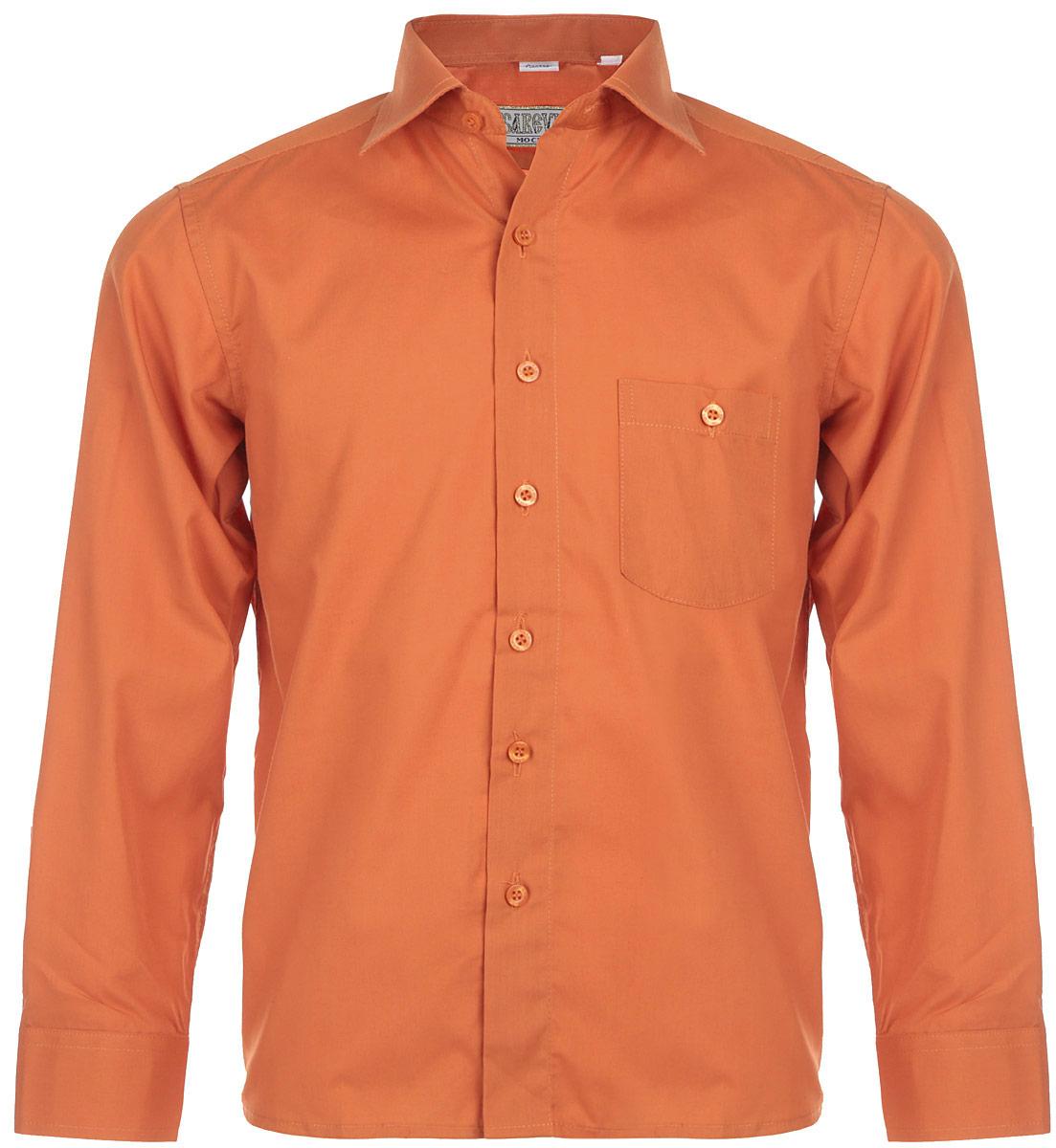 Рубашка для мальчика. KR-68KR-68Стильная рубашка для мальчика Tsarevich идеально подойдет вашему юному мужчине. Изготовленная из хлопка с добавлением полиэстера, она мягкая и приятная на ощупь, не сковывает движения и позволяет коже дышать, не раздражает даже самую нежную и чувствительную кожу ребенка, обеспечивая ему наибольший комфорт. Модель классического кроя с длинными рукавами и отложным воротничком застегивается по всей длине на пуговицы. На груди располагается накладной карман на пуговице. Края рукавов дополнены широкими манжетами на пуговицах. Такая рубашка будет прекрасно смотреться с брюками и джинсами. Она станет неотъемлемой частью детского гардероба.