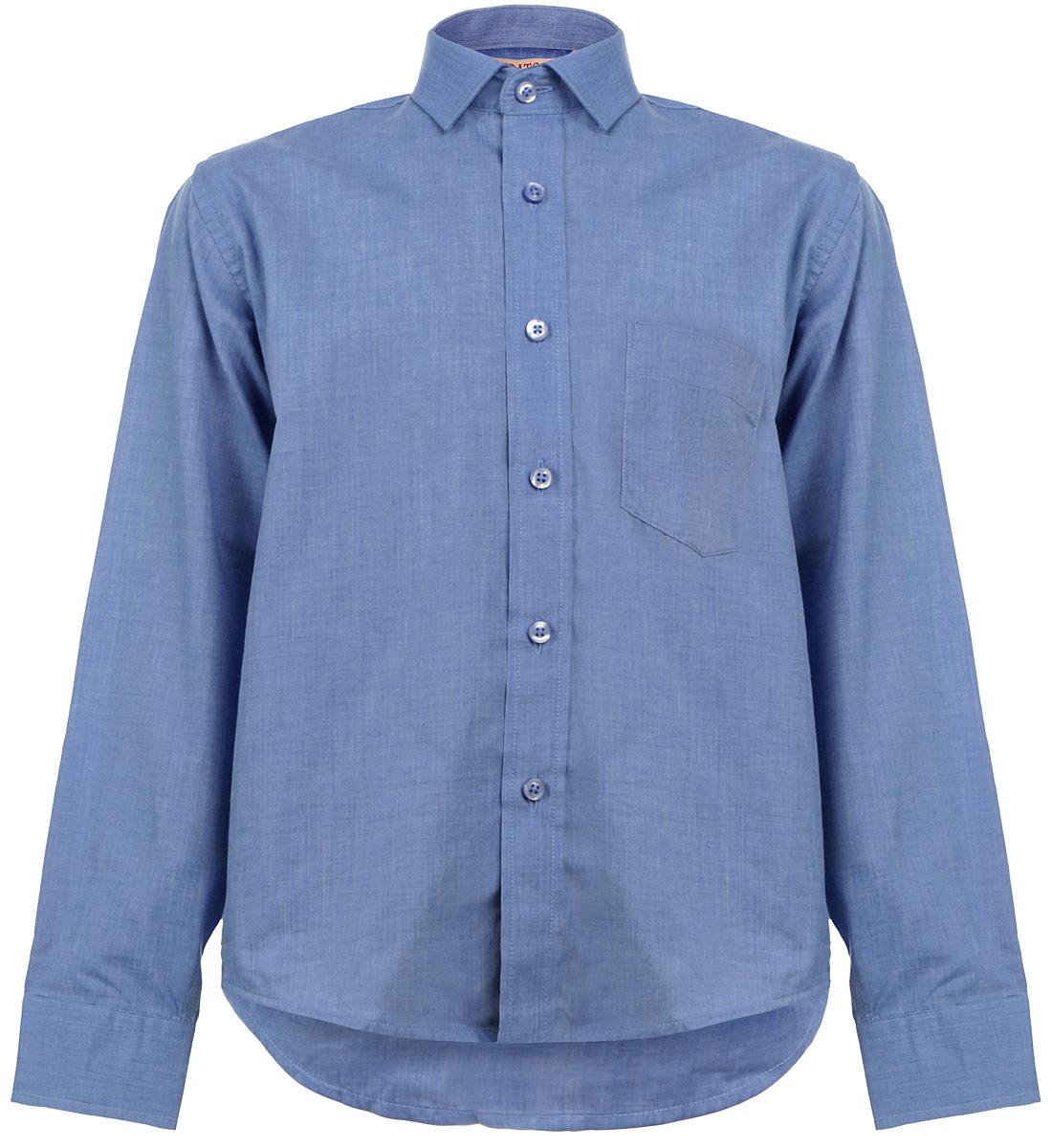 Рубашка для мальчика. LT BlueLT BlueСтильная рубашка для мальчика Imperator идеально подойдет вашему юному мужчине. Изготовленная из хлопка с добавлением полиэстера, она мягкая и приятная на ощупь, не сковывает движения и позволяет коже дышать, не раздражает даже самую нежную и чувствительную кожу ребенка, обеспечивая ему наибольший комфорт. Модель классического кроя с длинными рукавами и отложным воротничком застегивается по всей длине на пуговицы. На груди располагается накладной карман. Края рукавов дополнены широкими манжетами на пуговицах. Низ изделия немного закруглен к боковым швам. Такая рубашка будет прекрасно смотреться с брюками и джинсами. Она станет неотъемлемой частью детского гардероба.