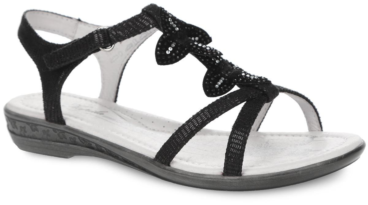 Босоножки для девочки. 3318133181-1Прелестные босоножки от Kapika очаруют вашу девочку с первого взгляда! Модель выполнена из искусственной кожи. Ремешок на подъеме украшен аппликациями в виде цветов, декорированных стразами. Ремешок на застежке-липучке обеспечивает оптимальную посадку обуви на ноге, не давая ей смещаться из стороны в сторону и назад. Подкладка из натуральной кожи позволяет ногам дышать. Кожаная стелька дополнена супинатором, который обеспечивает правильное положение ноги ребенка при ходьбе, предотвращает плоскостопие. Подошва с рифлением гарантирует идеальное сцепление с любой поверхностью. Стильные босоножки поднимут настроение вам и вашей дочурке!