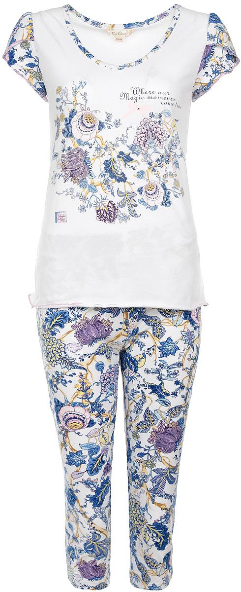 AW15-UAT-LST-284Очаровательная женская пижама Mia Cara, состоящая из майки и штанов, идеально подойдет для отдыха и сна. Модель выполнена из высококачественного хлопка, очень мягкая на ощупь, не сковывает движения, хорошо пропускает воздух. В ткань вплетены специальные волокна эластана, которые позволяют создать прилегающий силуэт и обеспечить комфорт. Изделие обладает благородными и стойкими цветами, устойчивыми к воздействиям в процессе использования и стирки. Футболка с V-образным вырезом горловины и короткими рукавами оформлена цветочным принтом. Штаны свободного кроя с широкой эластичной резинкой в поясе. В такой пижаме вам будет максимально комфортно и уютно.