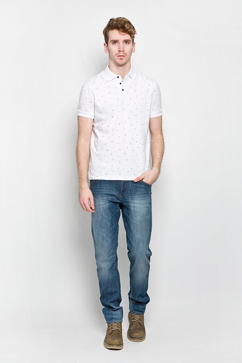 B706003Стильная мужская футболка-поло Baon изготовленная из натурального хлопка, обладает высокой теплопроводностью, воздухопроницаемостью и гигроскопичностью, позволяет коже дышать. Модель с короткими рукавами и отложным воротником - идеальный вариант для создания оригинального современного образа. Сверху футболка-поло застегивается на 3 пуговицы. Модель оформлена оригинальным рисунком в виде маленьких якорей. В боковых швах обработаны небольшие разрезы. Такая модель подарит вам комфорт в течение всего дня и послужит замечательным дополнением к вашему гардеробу.