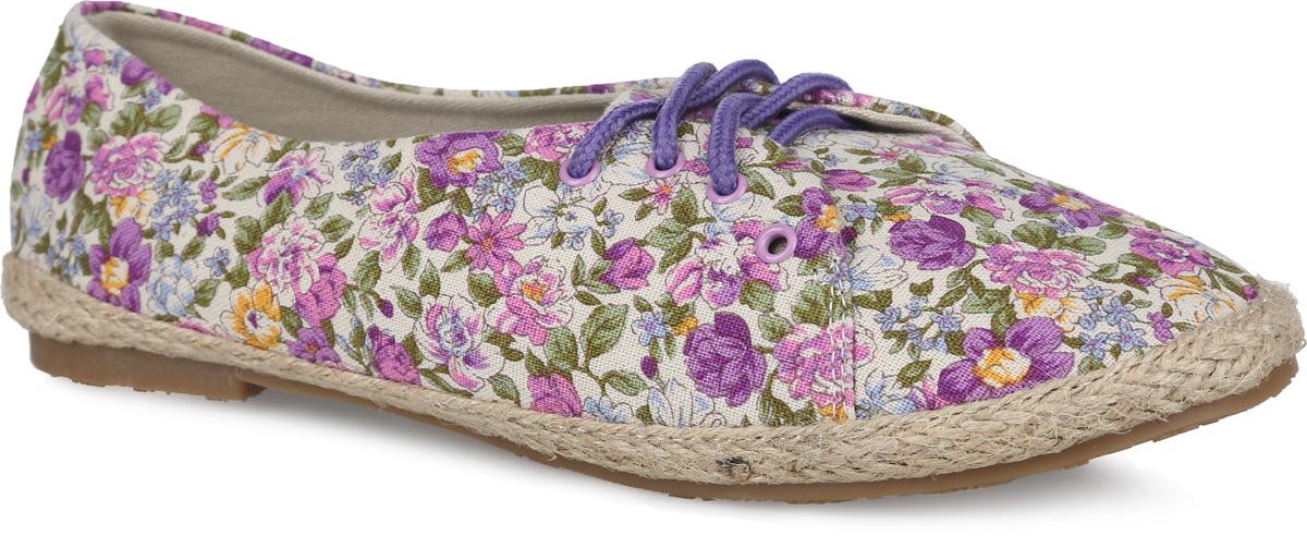 Балетки женские. SM3150_13_25_VIOLETSM3150_13_25_VIOLETЧудесные туфли от Spur покорят вас с первого взгляда. Модель выполнена из плотного текстиля, оформленного яркими цветочными изображениями. Подъем дополнен шнуровкой, надежно фиксирующей обувь на ноге. Подкладка и стелька, изготовленные из текстиля, гарантируют уют и предотвращают натирание. Верхняя часть подошвы по контуру оформлена плетеной джутовой нитью. Невысокий широкий каблук и подошва оснащены рифлением для лучшего сцепления с поверхностями. Стильные туфли внесут яркие нотки в ваш модный образ!